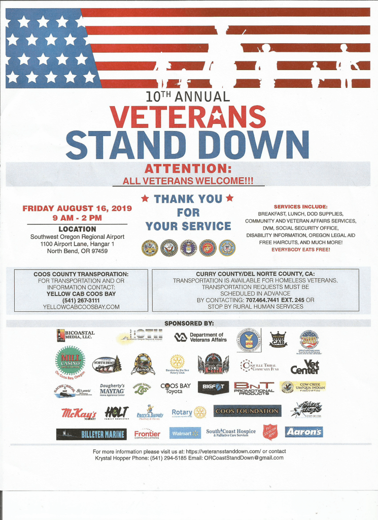 10th Annual Coos County Veterans Stand Down 8 16 19 Sovo
